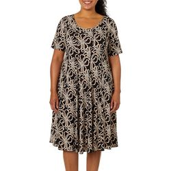 Sami & Jo Plus Floral Medallion Print Panel Dress