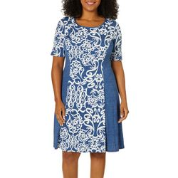 Sami & Jo Plus Chambray Puff Print Panel Dress