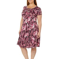 Sami & Jo Plus Floral Print Lace-Up Panel Dress