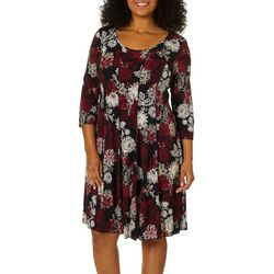 Sami & Jo Plus Floral Garden Puff Print Panel Dress