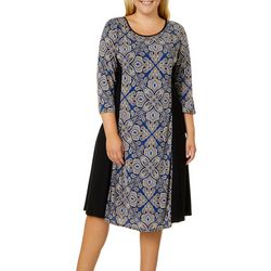 Sami & Jo Plus Medallion Print Panel Dress