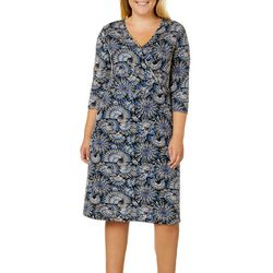 Sami & Jo Plus Fan Print Faux-Wrap Dress