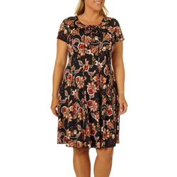Sami & Jo Plus Floral Print Lattice Neck Panel Dress