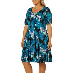 Sami & Jo Plus Floral Print Lattice Sleeve Panel Dress