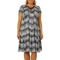 Sami & Jo Plus Medallion Print Crisscross Neck Panel Dress