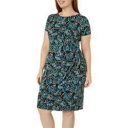 Plus Leaf Puff Print Faux Wrap Dress