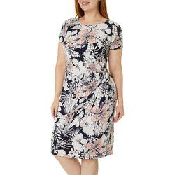 Plus Hibiscus Puff Print Faux Wrap Dress