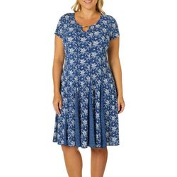 Sami & Jo Plus Floral Print Keyhole Panel Dress