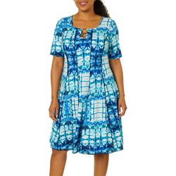 Sami & Jo Plus Ring Neck Tie Dye Puff Print Panel Dress