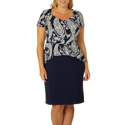 Sami & Jo Plus Paisley Print Peplum Dress