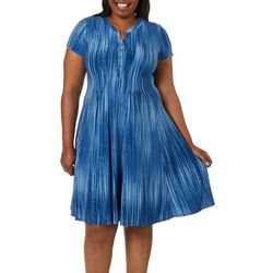Sami & Jo Plus Stripe Swirl Texture Short Sleeve Dress
