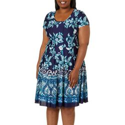Sami & Jo Plus Floral Border Print Panel Dress