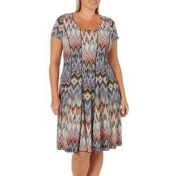 Sami & Jo Plus Geometric Chevron Paneled T-Shirt Dress