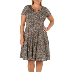 Sami & Jo Plus Geometric Paneled Keyhole T-Shirt Dress