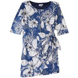 Signature Plus Dress Tie Side Tropical Short Dress