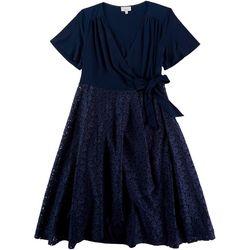Robbie Bee Plus Lace Skirt Side Tie Midi Dress