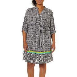 Tacera Plus Belted Medallion Print Dress