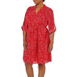 Tacera Plus Belted Dot Print Dress