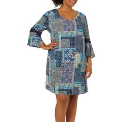Tacera Womens Patchwork Crochet Bell Sleeve Dress