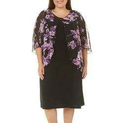 Connected Apparel Plus Floral Fly Away Jacket Dress