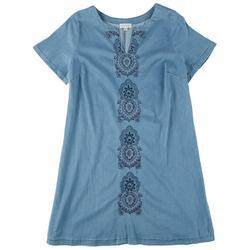 Plus Boho Embroidery Denim Dress