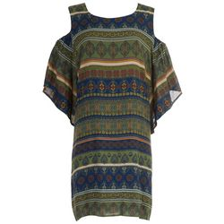 Luxology Plus Cold Shoulder Olive Dress