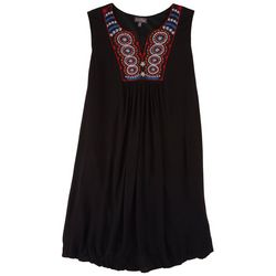 Luxology Plus Embroidery Mandala Neck Dress
