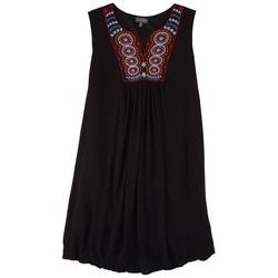 Plus Embroidery Mandala Neck Dress