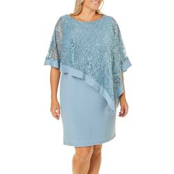 R & M Richards Plus Embellished Lace Overlay Shift Dress