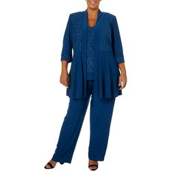 R & M Richards Plus 3-Pc. Glitzy Pantsuit Set