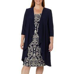 R & M Richards Plus 2-pc. Cardigan & Damask Print Dress