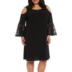 Plus Solid Lace Detail Cold Shoulder Dress