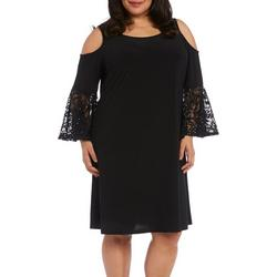 Plus Solid Lace Detail Cold Shoulder Dress