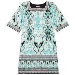 Sandra Darren Womens Plus Square Neck Textured Paisley Dress