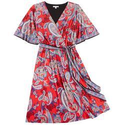 Womens Plus Paisley Wrap Dress