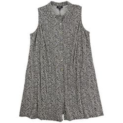 MSK Womens Collared Button Feature Printed Dress