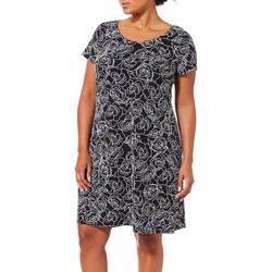MSK Plus Roses Puff Print Short Sleeve T-Shirt Dress