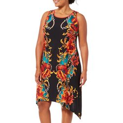 MSK Plus Floral Chain Puff Print Sharkbite Hem Dress