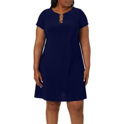 MSK Plus Solid Ring Neck T-Shirt Dress