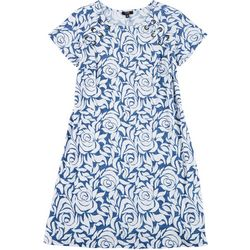 MSK Plus Floral Print Grommet Swing Dress