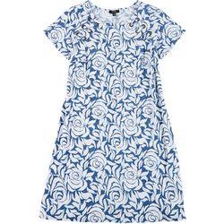 Plus Floral Print Grommet Swing Dress