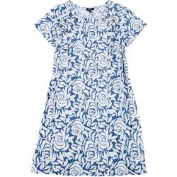 Plus Floral Print Grommet Swing Dress