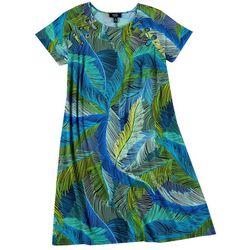 Plus Palm Leaf Print Grommet Swing Dress