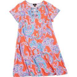 Womens Plus Paisley Ring Neck Short Sleeve Swing Dress