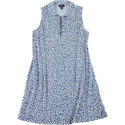 Womens Plus Printed Zip Neck Sleeveless Dress