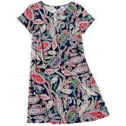 Plus Paisley Print Ring Neck Swing Dress