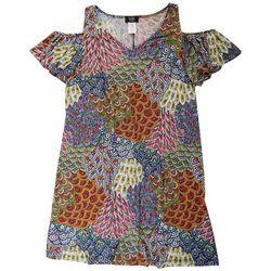 Plus Floral Print Flutter Sleeve Dress