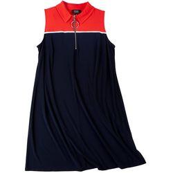 MSK Plus Bicolor Zip-Up Neck Dress
