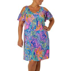 MSK Plus Colorful Paisley Print Cold Shoulder Dress
