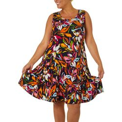 MSK Womens Colorful Floral Print Ruffle Tier Sundress